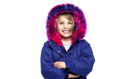 Den upphetsada ung flicka i vinter ha på sig Arkivfoto