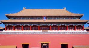 Den upprätta porten som leder från den Tiananmen fyrkanten in i Forbiddenet City i Peking, Kina arkivfoton