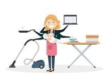 Den upptagna mamman som smiiling med, behandla som ett barn hemma vektor illustrationer