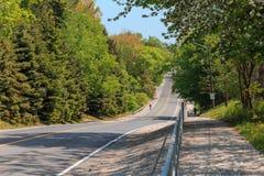 den ursnygga inviterande kullevägen för asfalt ner parkerar in med folk i bakgrund på solig dag Royaltyfria Bilder