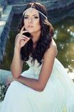 Den ursnygga kvinnan med mörkt hår bär den lyxiga klänningen och smycket Royaltyfri Foto