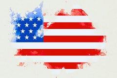 Den USA flaggan på vit bakgrund för tegelstenväggen, animeringen som målas med vattenfärgeffekt, konstnärlig stil USA, röstar el Arkivfoto