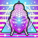 Den utöver det vanliga Buddhaframsidan i neon färgar över sakral geometri och kosmisk vibrerande bakgrund Insikt omformning stock illustrationer
