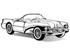 Den utan tak tappningbilcabrioleten, skissar, färgläggningboken, den svartvita teckningen, monokrom Retro tecknad filmtransport V Arkivbild