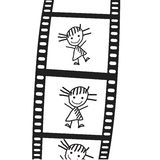 Den utdragna flickan på en filma. Vektor Royaltyfri Illustrationer