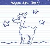 Den utdragna hjortillustrationen för det nya året skissar på skolaanteckningsboken Royaltyfri Bild