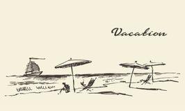 Den utdragna stranden för sikten för semesteraffischsjösidan skissar vektor illustrationer