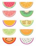 Den utdragna vektorsamlingen ställde in med olika exotiska fruktskivor som klipptes i halva som vattenmelon, apelsinen, grapefruk royaltyfri illustrationer