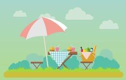 Den utomhus- picknicken parkerar in illustrationen royaltyfri illustrationer