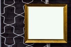 Den utsmyckade bildramen på väggen Art Gallery, belägger med metall utsmyckad shutt Royaltyfria Bilder