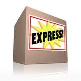 Den uttryckliga snabba speciala leveransen rusar sändningskartongen Royaltyfri Bild