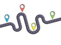Den vägturen och resan sänder den infographic mallen med stiftpekaren Arkivfoto