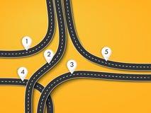Den vägturen och resan sänder den infographic mallen med stiftpekaren Royaltyfri Bild