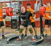 Den 2014 världscupen som powerlifting AWPC i Moskva Arkivfoto