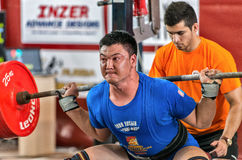 Den 2014 världscupen som powerlifting AWPC i Moskva Royaltyfri Foto