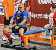 Den 2014 världscupen som powerlifting AWPC i Moskva Arkivbilder