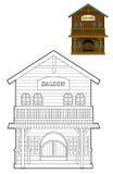 Den västra färgläggningsidan - löst västra - - illustration för barnen Royaltyfri Bild