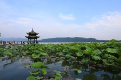 Den västra lakehangzhouen, porslin royaltyfri bild