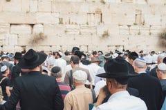 Den västra väggen eller den att jämra sig väggen är det mest holiest stället till judendom arkivbild
