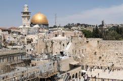 Den västra väggen och kupolen av vagga - Jerusalem Royaltyfri Foto