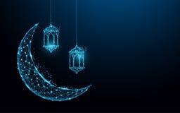 Den växande månen med den hängande för festivalbegreppet för lampor islamiska formen fodrar och trianglar, punktförbindande nätve stock illustrationer
