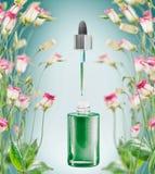 Den växt- ansikts- serumflaskan med pipetten och blommor plats på blå bakgrund arkivbild