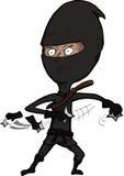 den våldsamma ninjaen shuriken kast Arkivbild
