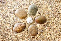 Den våta runda stenen vaggar textur Arkivfoto