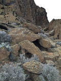 Den vacklade stenblock och borsten på fortet vaggar delstatsparken royaltyfria foton