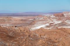 Den Valle de för månedalområde laen Luna av geologiskt bildande av stenen och sand som lokaliseras i, saltar bergskedja, Atacama royaltyfri foto