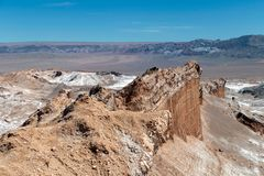 Den Valle de för månedalområde laen Luna av geologiskt bildande av stenen och sand som lokaliseras i, saltar bergskedja, Atacama arkivfoton