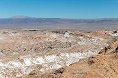 Den Valle de för månedalområde laen Luna av geologiskt bildande av stenen och sand som lokaliseras i, saltar bergskedja, Atacama arkivbild