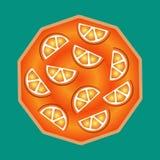 Den van vid läckra smaskiga orange kakan dekorerar baner, reklamblad, befordringar, websites, menyer vektor illustrationer