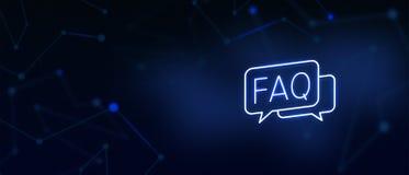 Den vanliga frågor-, fråge- och svarssymbolen, kontaktar oss, FAQ-sida, skriver till oss, lösningar, hjälpskrivbordet, kundomsorg stock illustrationer