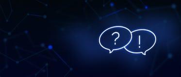 Den vanliga frågor-, fråge- och svarssymbolen, kontaktar oss, FAQ-sida, skriver till oss, lösningar, hjälpskrivbordet, kundomsorg vektor illustrationer