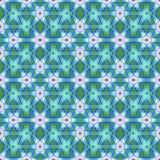 Den vanliga stjärnamodellen med cirklar och diamanten mönstrar skiftade lilor för blå gräsplan Royaltyfri Fotografi
