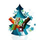 Den varma avtalsförsäljningsbefordran märker, förser med märke för jul Royaltyfri Fotografi