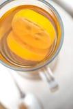 Den varma citrusa drinken med alkohol, produktfotografi för restaurang, övervintrar den varma drinken Fotografering för Bildbyråer