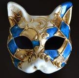 Den Venetian maskeringen av en katt tystar ned Royaltyfria Foton