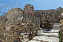 Den Venetian slotten i den Naxos ön, Cyclades Arkivbild