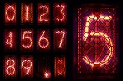 Den verkliga Nixie rörindikatorn en uppsättning av decimal- siffror fotografering för bildbyråer