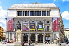Den verkliga teatern är en viktig operahus som lokaliseras i Madrid Arkivbilder