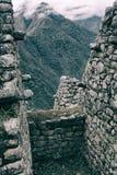 Den vertikala sikten av Anderna från forntida Inca fördärvar arkivfoton