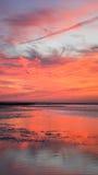 Den vertikala solnedgången vaggar hamnen Cape Cod New England Royaltyfria Foton