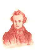 Den Victor Hugo akvarellen skissar ståenden Arkivfoto
