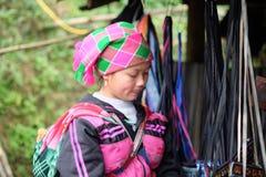 Den vietnamesiska etniska H'Mong kvinnan i traditionella dräkter med behandla som ett barn på henne tillbaka Royaltyfri Bild