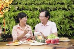 Den vietnamesiska familjen firar mån- nytt år arkivbild
