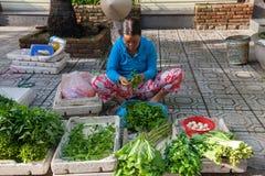 Den vietnamesiska kvinnan sorterar grönsaker på gatamarknaden, Nha Trang, Vietnam Royaltyfria Bilder