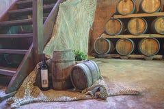 Den vinavsmakning och vinodlingen turnerar Kroatien från Hvar Winekällare med trummor royaltyfri bild