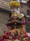 Den Virgen del Spårvagnsförare symbolen ståtar Pisac Cuzco Peru Arkivfoto